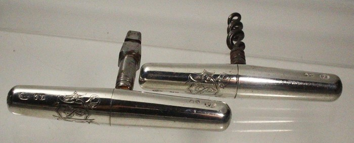 Silver English roundlets,same owner,carriage key,corkscrew