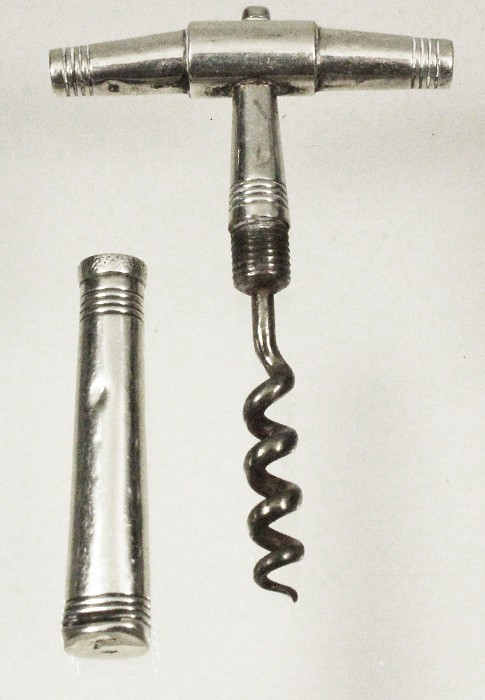 Dutch silver corkscrew with sheath ca 1840