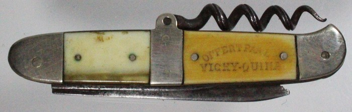 French knife, bone scales advertising VICHY QUINA