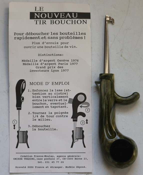 French & German Patent Cork Extractor- Original Display Card