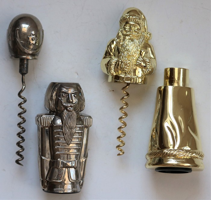 Two Christmas Novelty Figural Corkscrews