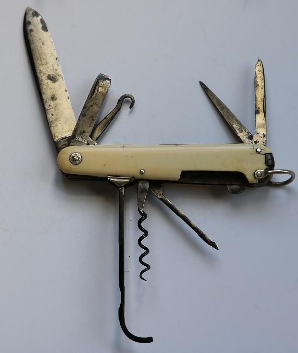 Large 19th Century Farriers Knife with Corkscrew Mkd LUND