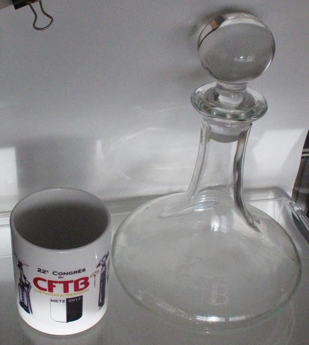 Decanter marked CFTB and cup 22e CONGRES CFTB