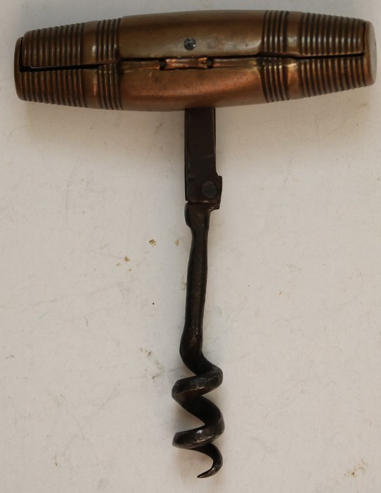 Late 18th Century English Bronze Double Fold Corkscrew .
