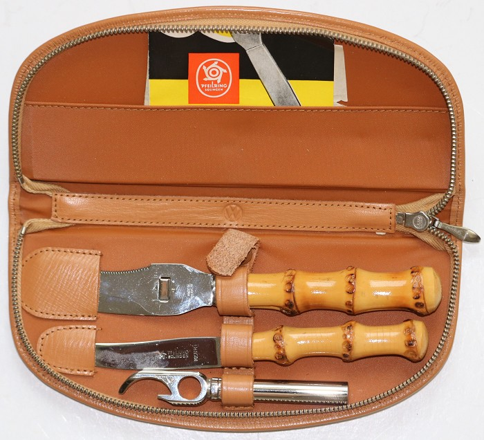 German Cheese Knife & Corkscrew in the Original Leather Case