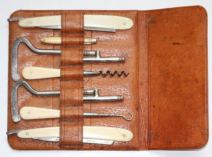 English 19th Century Gentlemen's Traveling Set and Corkscrew