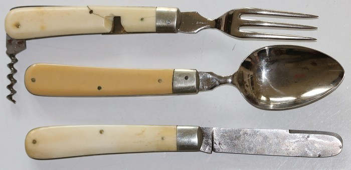 German Campaign Set - Glass, Knife, Fork, Spoon & Corkscrew