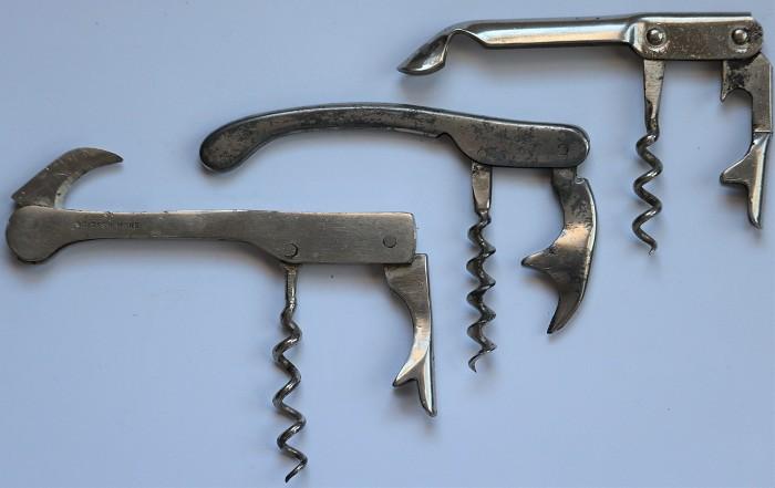 Three Waiters Lever Corkscrews - Davis Patent, Willets Reg.