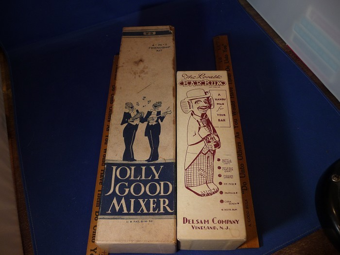 LOT OF 2THE ORIGINAL BOX JOLLY GOOD MIXER &  PAINTED BAR BUM