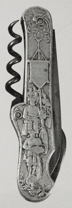 German knife marked on tangs MORELEY, ca 1890, aluminium sca