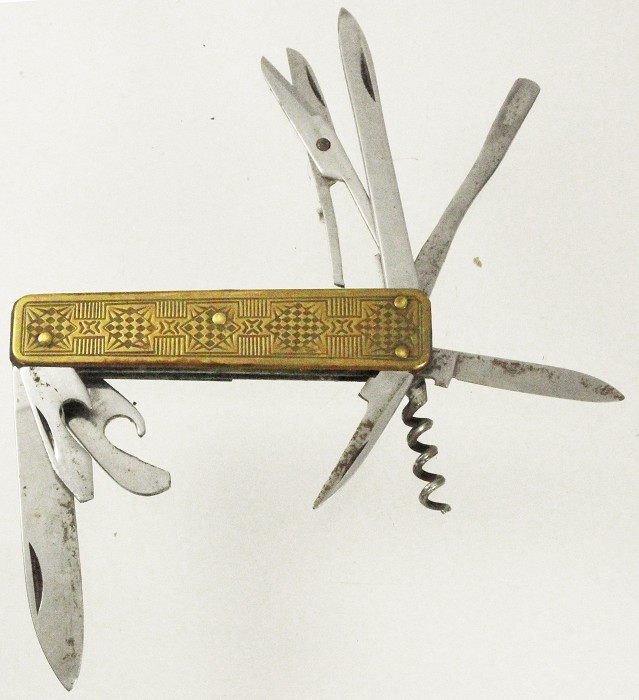 art deco knife with brass scales , 9 tools