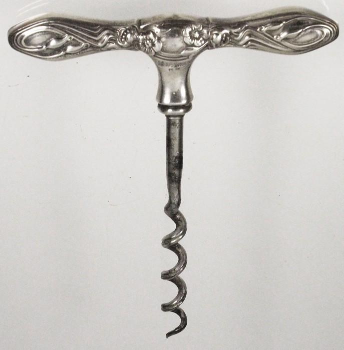 Silver Art Nouveau T screw marked 925 STERLING