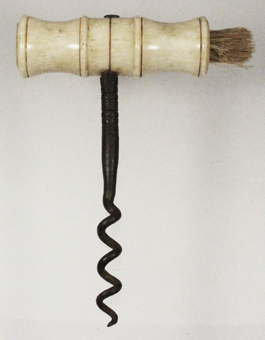 English T corkscrew with bone handle, late 19th century