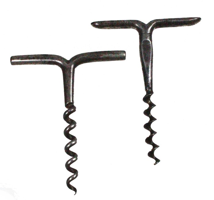 Two steel typical Thuringian T corkscrews