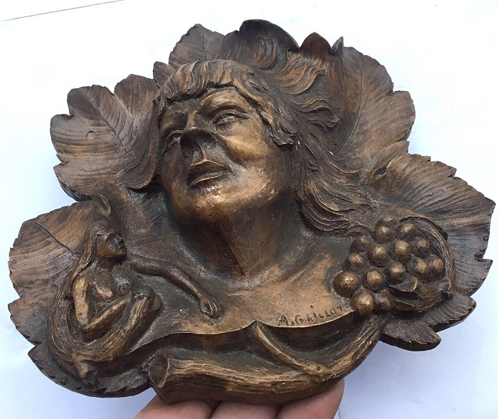 WOOD SCULPTURE MARKED A.GAILLOT WOMAN MUSE BUNCH OF GRAPES