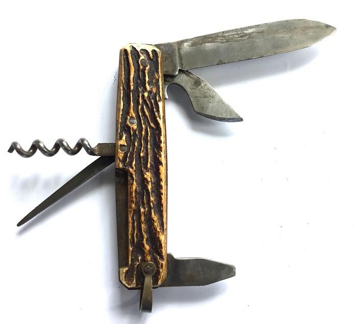 FRENCH CORKSCREW KNIFE 5 TOOLS DEER PRADEL