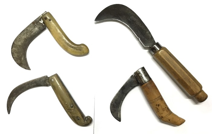 FRENCH WINE SERPETTE & WINE GROWER'S KNIFE HORN & BOXWOOD