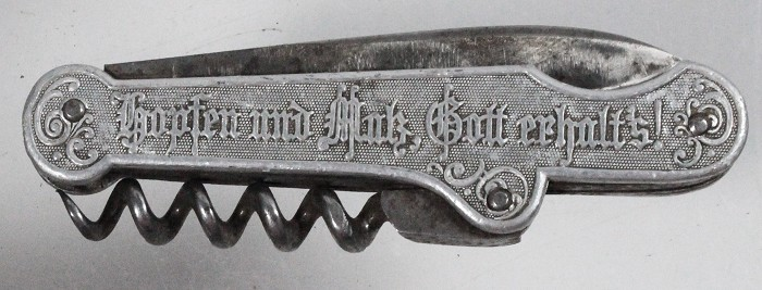 German knife with woman on barrel