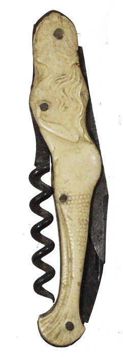 rare mermaid-shaped knife with corkscrew, a few hairlines