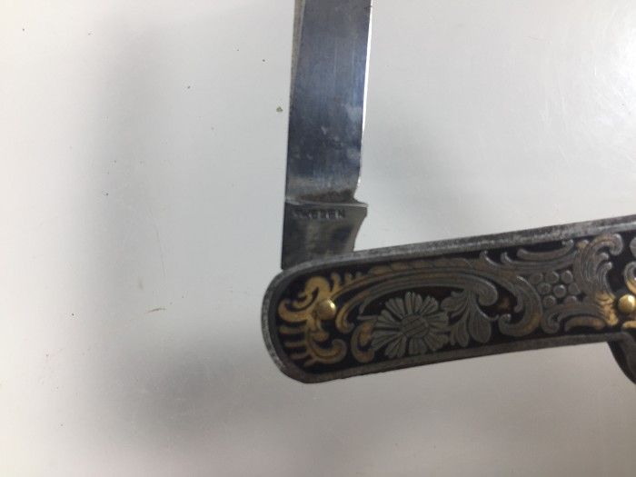 Swedish, decorative, etched knife with J-hook
