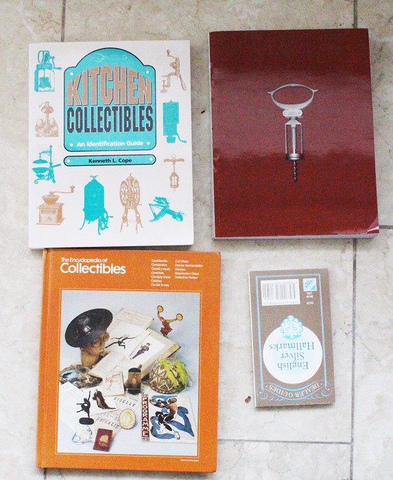 4 books, silver marks,2 Kitchen Collectibles incl Corkscrews
