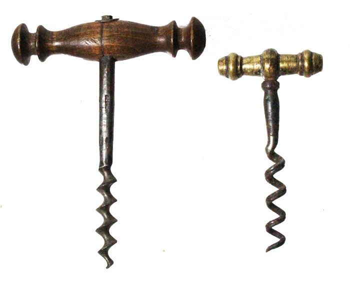 Two small corkscrews, one brass one wooden marked GERMANY
