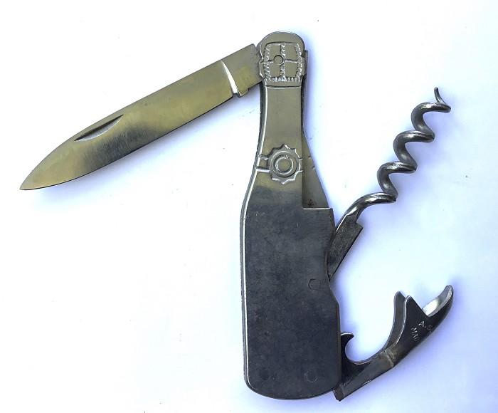 FRENCH BOTTLE CHAMPAGNE SHAPE KNIFE UNMARKED A.SAUZEDDE