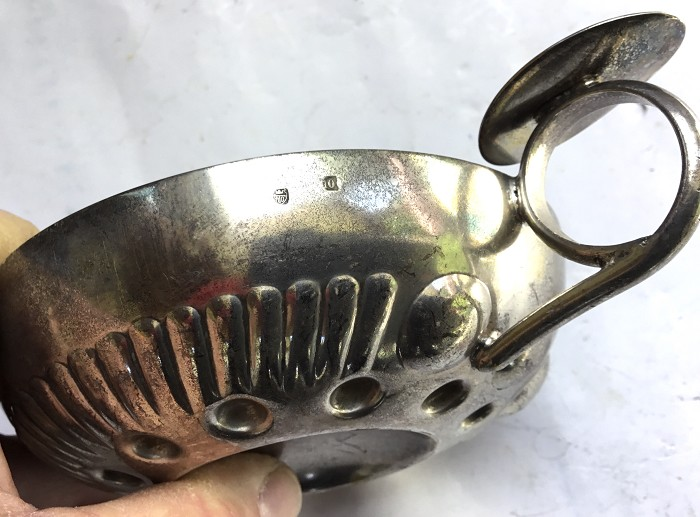 FRENCH SILVER PLATED WINE TASTER MARKED AD CROWN 10 TASTE VI