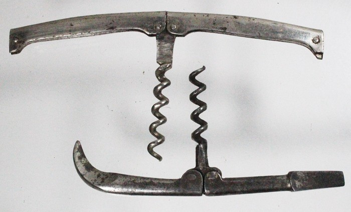 German folding corkscrew with wire cutter and carriage key