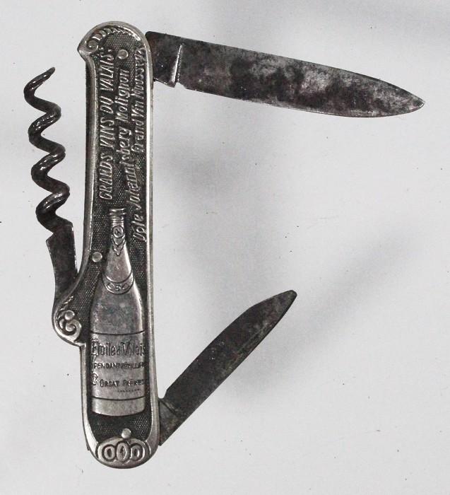 Knife with bottle advertising GRAND VIN DE VALAIS,