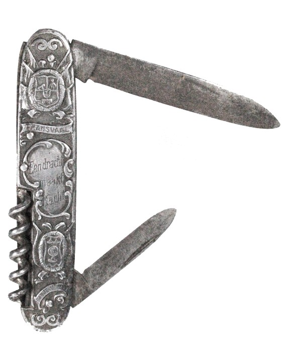 Knife with leaders of South Africa KRUGER and DE WET