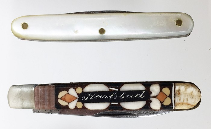 2 miniature knives , one with inlaid stones KARLSBAD