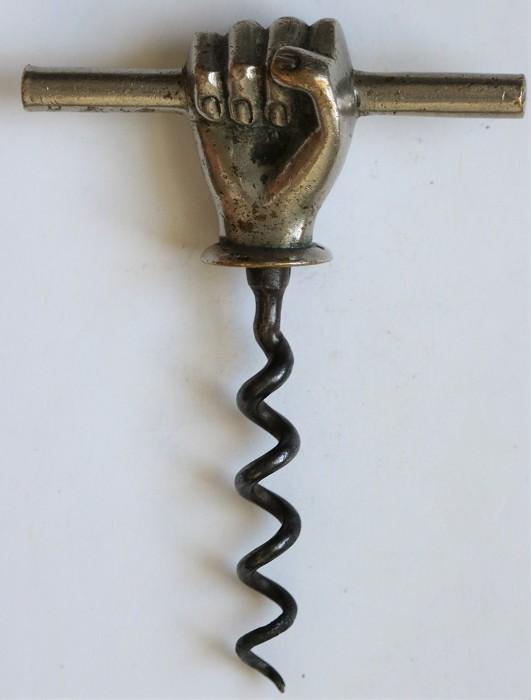 Figural Hand Gripping a Bar Corkscrew