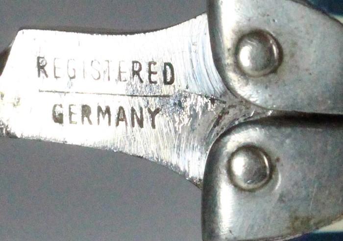 Steinfeld and Reimer's ladies legs, dark blue /white marked