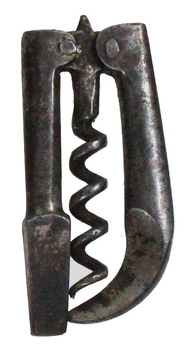 English folding corkscrew with wire cutter and carriage key