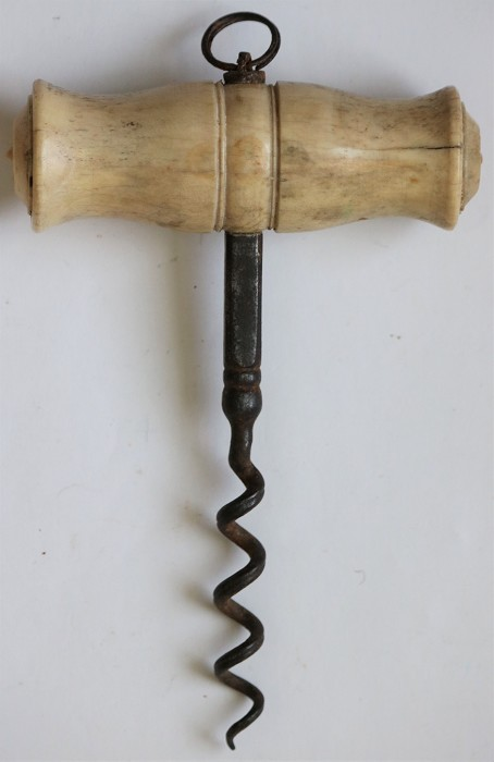 English T- handled Corkscrew with large diameter bone handle