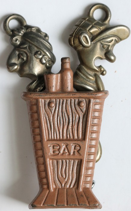 English Punch & Judy Bar Set- Corkscrew, Opener & Cast Stand