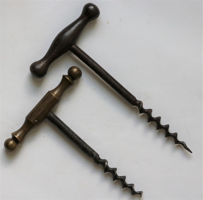 A Collection of Five Brass & Steel T-Handled Corkscrews