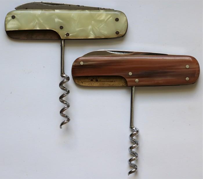 Two German J-Hook Corkscrew Pocket Knives - One with Case