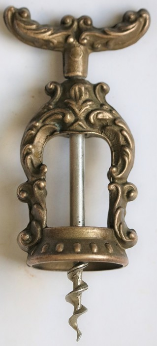 Small Open Frame Corkscrew with Ornate Cast Frame & Handle