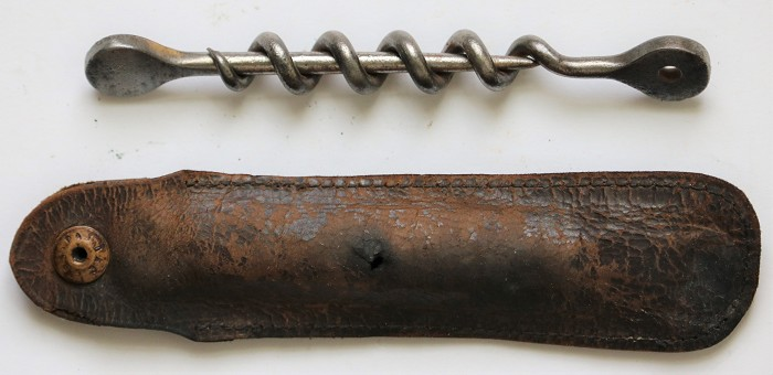 Early Peg & Worm Pocket Corkscrew in Original Leather Case.
