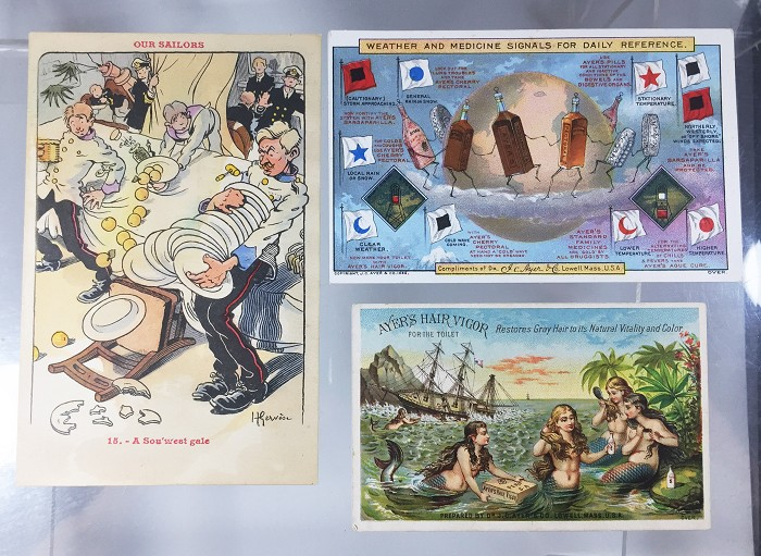 postcard and 2 cards showing corkscrews
