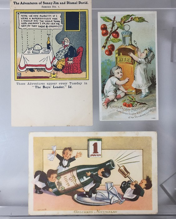 2 postcards and a card showing corkscrews