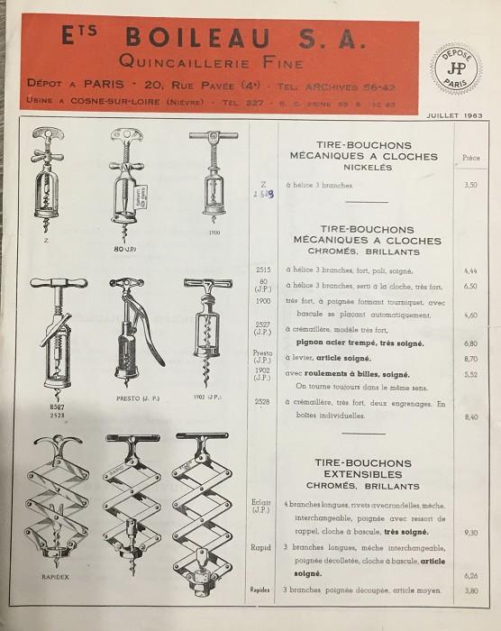 FRENCH CORKSCREW 2 PRONGS A.BOILEAU (1910-1965) 1963