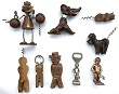 FRENCH CORKSCREW 9 FIGURALS DOG CAT MAKENN PIS MEN