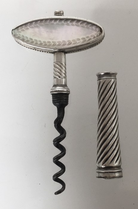 English corkscrew with mother of pearl etched handle