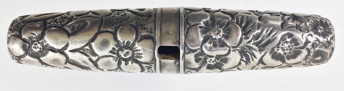 US silver roundlet with flowers decoration marked STERLING