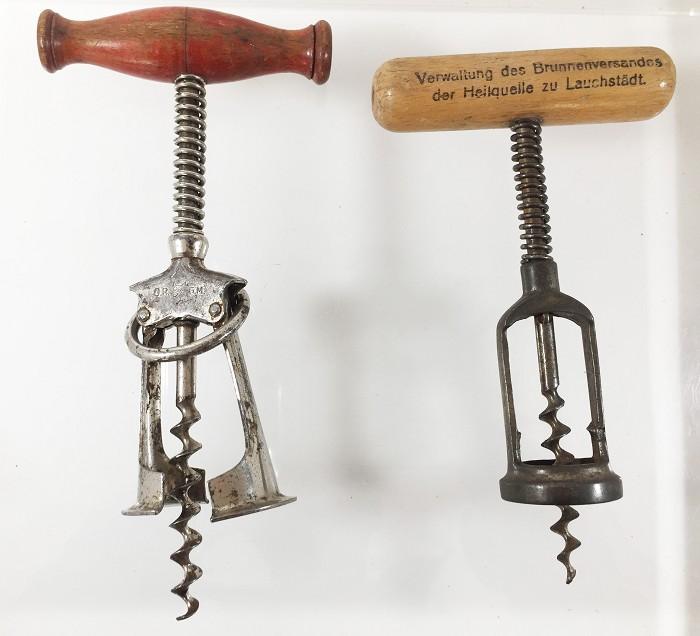 2 German corkscrews Traugott Wolfs'German patent+adeverising