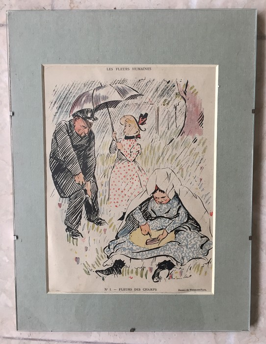 French print with frame ca 1890 with man withdrawing a cork