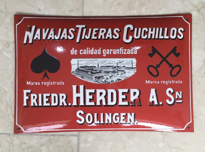 0ld enamel billboard FRIERDRICH HERDER SOLINGEN